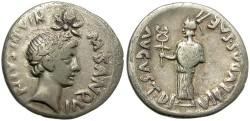 Ancient Coins - AUGUSTUS. SILVER DENARIUS. DIVUS JULIUS CAESAR PORTRAIT W/ COMET. RARE !