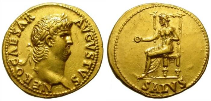 Ancient Coins - NERO. GOLD AUREUS. SALUS ON REVERSE. BEAUTIFUL COIN !