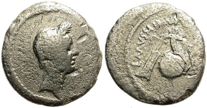 Ancient Coins - IULIUS CAESAR. SILVER DENARIUS. WITH SOME MINERALIZATION AND LOW QUALITY BUT AFFORDABLE