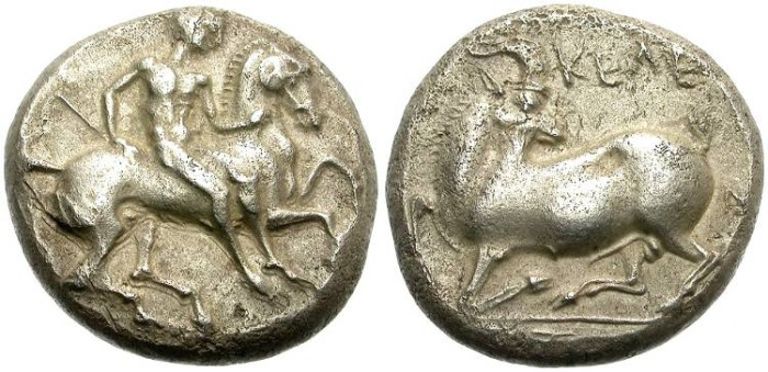 Ancient Coins - KELENDRIS, CILICIA. SILVER STATER. GOAT TO LEFT. NICE !