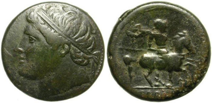 """Ancient Coins - HIERON II.  SYRACUSE.  PROTOTYPE  FOR IBERIAN """"HORSE MAN""""  ASES."""