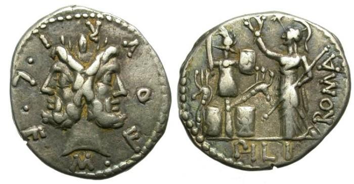 Ancient Coins - ROMAN REPUBLIC.  FURIA-18.  SILVER DENARIUS.  AFFORDABLE . NICE TONING.
