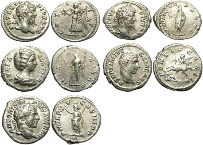 Ancient Coins - LOT OF 5 SILVER DENARIUS. SEVERAN PERIOD. AFFORDABLE GROUP /1