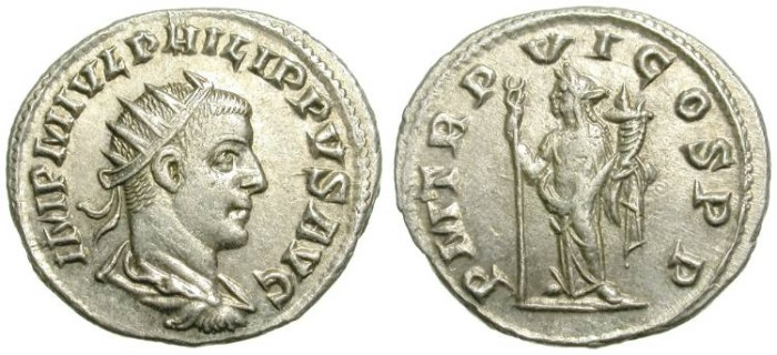 Ancient Coins - PHILIP II. ANTONINIAN. ANTIOCH MINT. SPLENDID QUALITY. TYPICAL LUSTER ON FIELDS FOR ANTIOCH PIECES