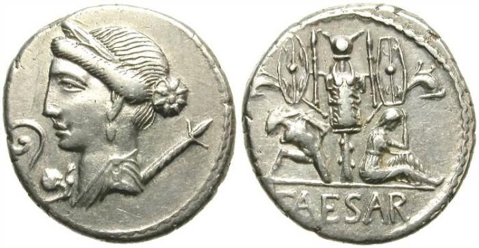 Ancient Coins - JULIUS CAESAR. DENAR.  B.C. 46.  SCARCE AND VERY ATTRACTIVE PORTRAIT.