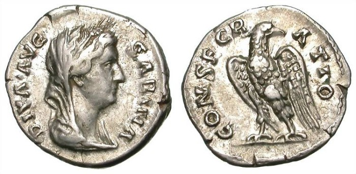 Ancient Coins - DIVA SABINA. DENAR. GOOD VF W/ MANY TRACES OF LUSTER. SUCH A NICE RARITY !