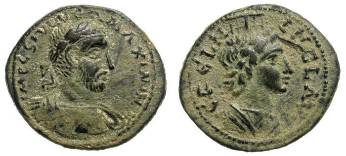 Ancient Coins - MAXIMINUS I. AE BRONZE. NINIKA-CLAUDIOPOLIS. EF CONDITION. BEAUTIFUL COIN.