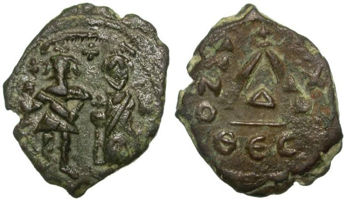 Ancient Coins - HERACLIUS. EXTREMELY RARE THREE QUARTER FOLLIS. THESSALONICA. SUPER OPPORTUNITY !