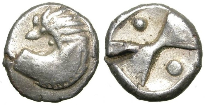 Ancient Coins - TRACIAN CHERRSONESSOS TETROBOL. BARBARIAN IMITATIVE . VERY RARE & EXOTIC !