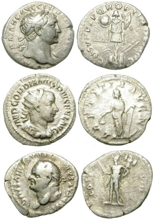 Ancient Coins - LOT OF 3 ROMAN SILVER PIECES: 2 DENARII AND 1 ANTONINIANUS. DIRTY CHEAP !