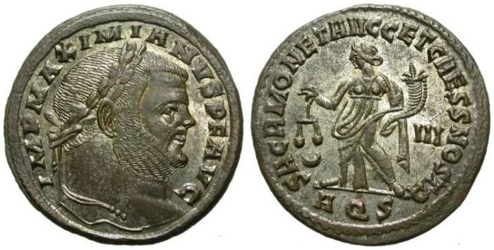 Ancient Coins - MAXIMIANUS HERCULEUS. FOLLIS. AQUILEA MINT. SO NICE PORTRAIT !