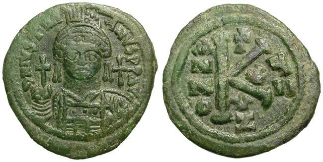 Ancient Coins - IUSTINIAN I THE GREAT. LARGE MODULE HALF FOLLIS. ATTRACTIVE ISSUE.