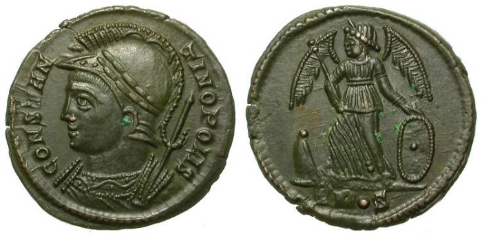 Ancient Coins - CONSTANTINE I THE GREAT: CONSTANTINOPOLIS, CONMEMORATIVE ISSUE. SUPERB !