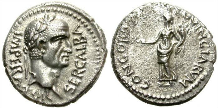 Ancient Coins - GALBA. SILVER DENARIUS. SPECTACULAR PORTRAIT. NARBONNENSIS (?). REALLY NICE ISSUE !
