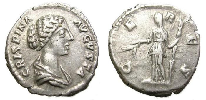 Ancient Coins - CRISPINA, w. of Commodus. DENARIUS. SCARCE.
