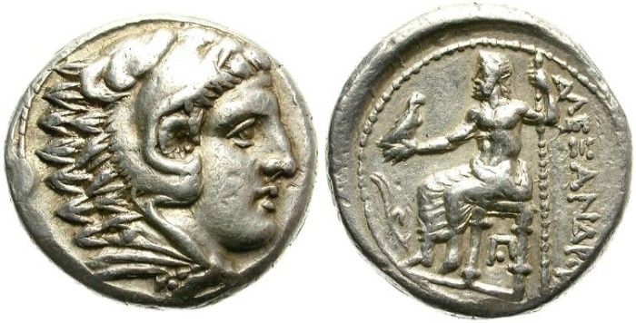 Ancient Coins - ALEXANDER THE GREAT. SILVER TETRADRACHM. LIFETIME ISSUE. NICE