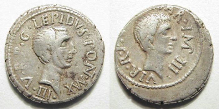 Ancient Coins - LEPIDUS & AUGUSTUS. PORTRAIT DENAR. VERY RARE. FANTASTIC ISSUE !