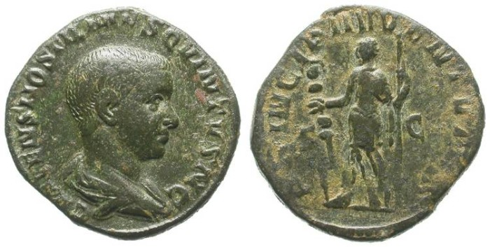 Ancient Coins - HOSTILIAN.. SESTERZ AS CAESAR. BEAUTIFUL PORTRAIT. GOOD COIN !