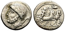 Ancient Coins - ROMAN REPUBLIC. MEMMIA-8. AR DENARIUS , 87 BC.  ROME MINT. LAUREATE HEAD OF SATURN LEFT.