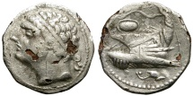 "Ancient Coins - HAMILCAR BARCA. VERY RARE ""FOUREE"" SILVER CARTHAGINIAN SHEKEL. AREA OF GADES. RARELY SEEN ANCIENT SILVER PLATED SAMPLE"