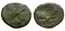 Ancient Coins - ROMAN IMPERATORIAL. AS. JANUS TYPE. VARIANT WITH POMPEY THE GREAT BUST. RARE !