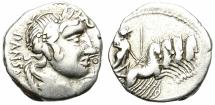 Ancient Coins - ROMAN REPUBLIC. VIBIA-2. SILVER DENARIUS. GOOD PRICE.