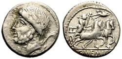 Ancient Coins - ROMAN REPUBLIC. MEMMIA-8. AR DENARIUS , 87 BC.  ROME MINT. LAUREATE HEAD OF SATURN LEFT.