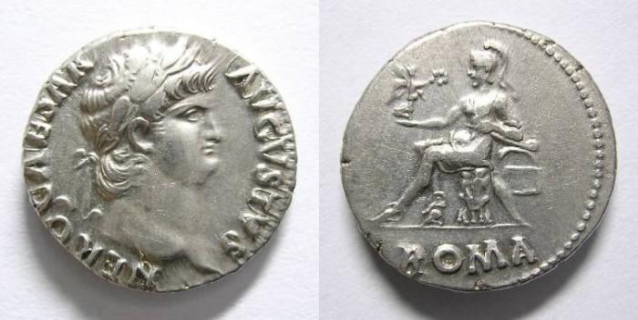 Ancient Coins - NERO DENARIUS.  R/ ROMA. GREAT QUALITY.
