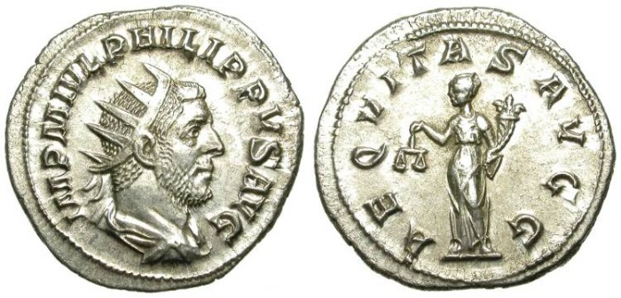 Ancient Coins - PHILIP I. ARAB. SILVER ANTONINIAN. GOOD SILVER CONDITION. BEAUTIFUL COIN !