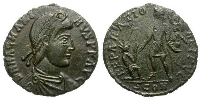Ancient Coins - MAGNUS MAXIMUS. MAIORINA. CONSTANTINOPLE MINT. NICE DARK GREEN PATINA