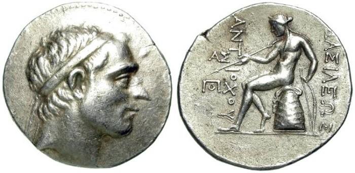 Ancient Coins - ANTIOCHOS III. TETRADRACHM. INTERESTING PORTRAIT. VERY SCARCE MINT