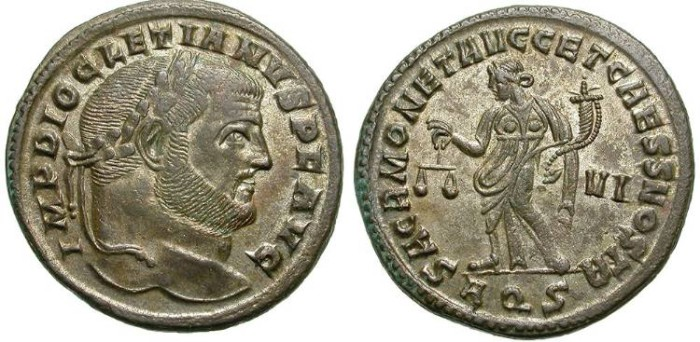 Ancient Coins - DIOCLETIAN. LARGE FOLLIS. AQUILEIA. GREAT CONDITION