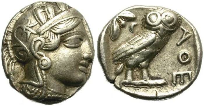 Ancient Coins - ATTICA. ATHENS. SILVER TETRADRACHM. CLASSICAL PERIOD. PARTICULARLY NICE ATHENA DEPICTION /4