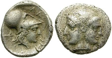 Ancient Coins - LAMPSAKOS, MYSIA. DIOBOL. ATHENA & JANUS. ATTRACTIVE