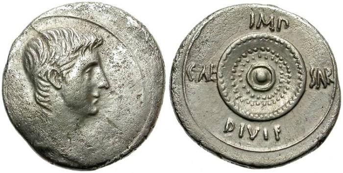 Ancient Coins - OCTAVIAN, SILVER DENARIUS. SCARCE  AND  BEAUTIFUL  REVERSE.