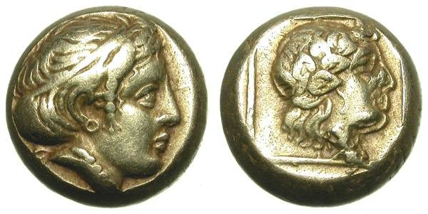 Ancient Coins - MYTILENE, LESBOS. ELECTRUM HECKTE. BEAUTIFUL COIN