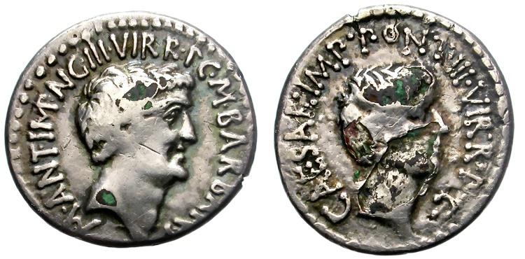 Ancient Coins - MARCUS ANTONIUS AND OCTAVIUS.  41 BC.  FOURRE DENARIUS. ATTRACTIVE.