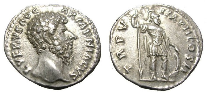 Ancient Coins - LUCIUS  VERUS  DENARIUS  A. D.  161-169.  GREAT  QUALITY.