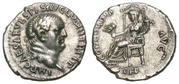Ancient Coins - VESPASIAN. DENAR. EPHESUS. A EF. SUPERB EASTERN PORTRAIT !