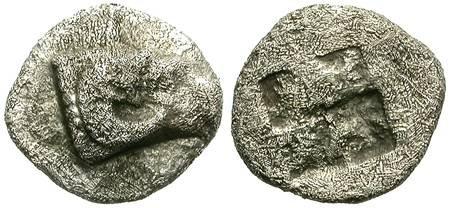 Ancient Coins - HEMIOBOL. KEBREN, TROAS. RAM´s HEAD & INCUSE SQUARE. MINIATURE COIN !