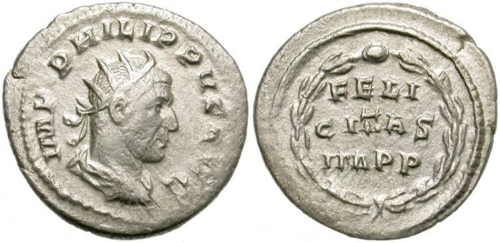 Ancient Coins - PHILIP I. AR ANTONINIAN.  RADIATE DRAPED, AND CUIRASSED BUST RIGTH.