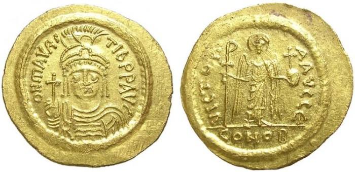 Ancient Coins - MAURICE  TIBERIUS.  AV  SOLIDUS.