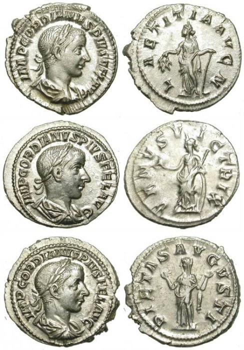 Ancient Coins - A NICE GROUP OF 3 GORDIAN III SILVER DENARIUS. EF QUALITY /1!