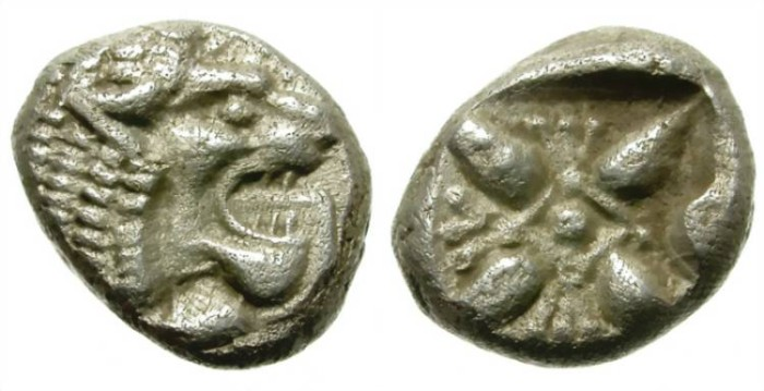 Ancient Coins - MILET, IONIA. SILVER DIOBOL. ATRACTIVE STRIKE. GOOD PRICE ! /2