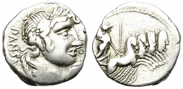 Ancient Coins - ROMAN REPUBLIC. VIBIA-2. SILVER DENARIUS. GOOD PRICE.