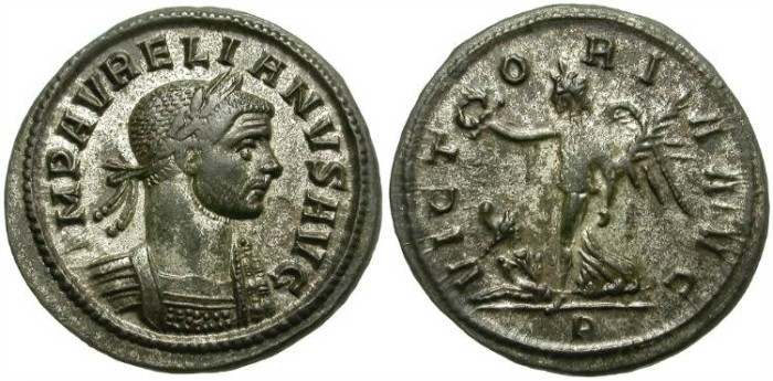 Ancient Coins - AURELIAN.  AE  DENARIUS.  ROME MINT. MOSTLY SILVERING.  GOOD QUALITY.