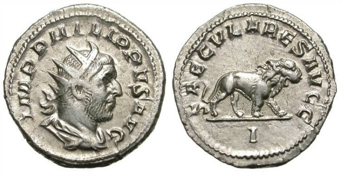 Ancient Coins - PHILIP I. ANTONINIAN. INTERESTING REVERSE W/ LION. NICE COIN!