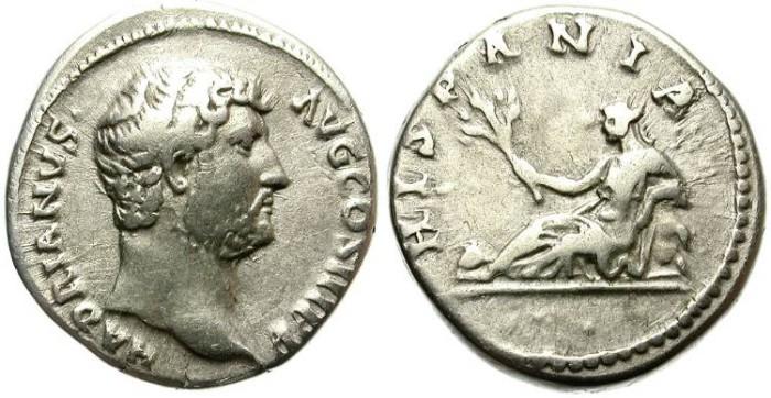 Ancient Coins - HADRIANUS. 117-138 AD. HISPANIA  DENARIUS. GOOD GENERAL QUALITY.