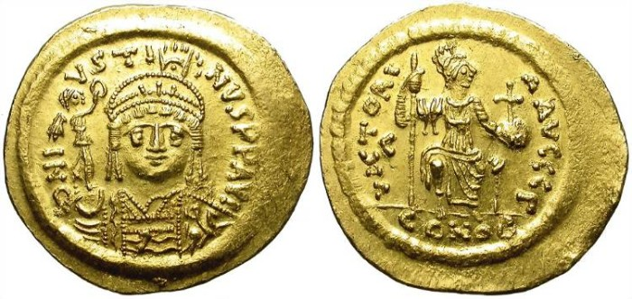 Ancient Coins - BIZANCE. JUSTIN II. GOLD SOLIDUS. CONSTANTINOPOLIS MINT. NICE BUST. PRACTICALLY UNCIRCULATED