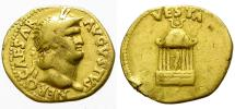 Ancient Coins - NERO. GOLD AUREUS. TEMPLE OF VESTA ON REVERSE. INTERESTING ISSUE